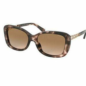 Coach Pink Tortoise Oval Oversized Sunglasses